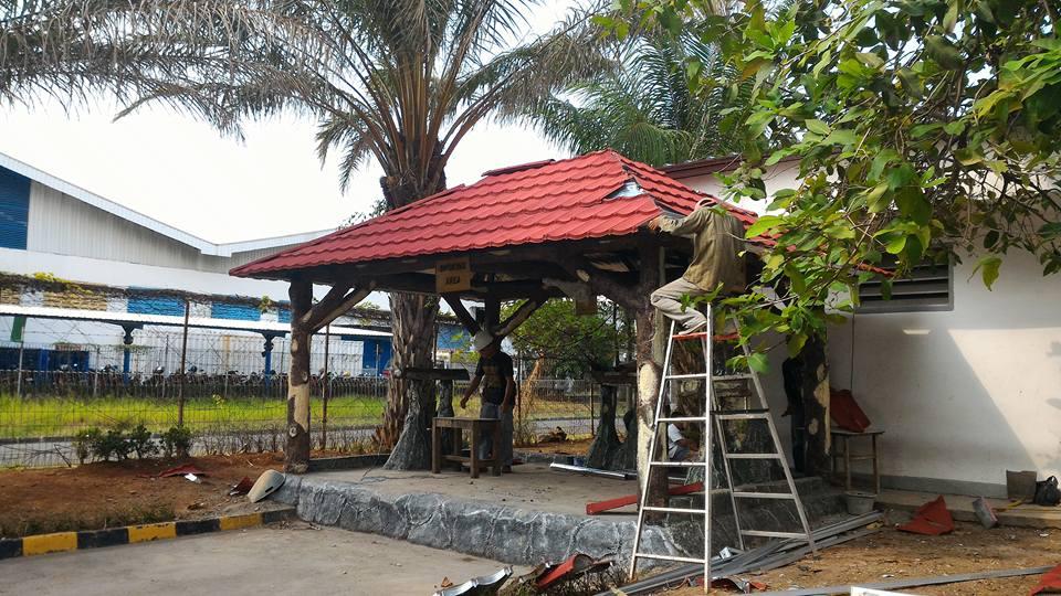 Proyek Atap Gazebo Baja Ringan Di Pt Mitsubishi Electric Kawasan